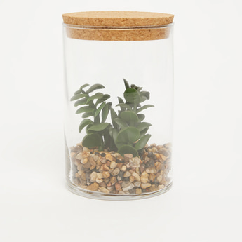 Artificial Succulent Plant in Transparent Jar
