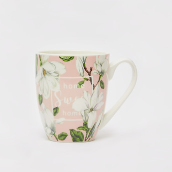 Slogan and Floral Print Mug with Side Handle