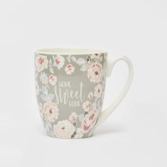 Floral and Slogan Print Mug with Side Handle