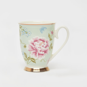 Floral Print Mug with Handle and Round Base