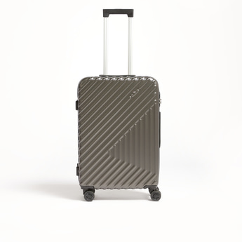 Textured Hard Trolley Suitcase with Retractable Handle - 43x26x66 cms