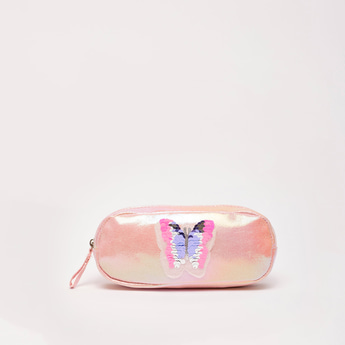 Butterfly Embellished Pencil Case with Zip Closure