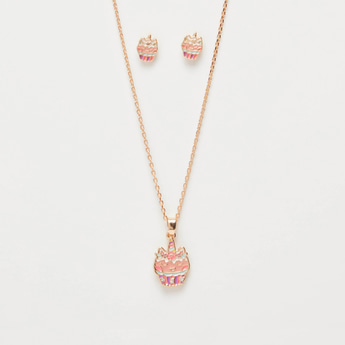 Studded Long Necklace with Lobster Closure and Earrings Set
