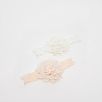 شريطة رأس بتفاصيل زخارف أزهار - طقم من قطعتين