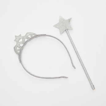 Glitter Textured Hairband and Wand Set