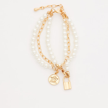 Pearl Detail Bracelet with Lobster Clasp and Charms