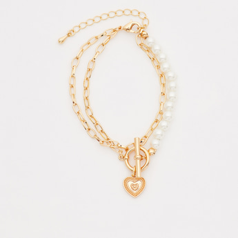 Pearl Detail Bracelet with Toggle Clasp and Charms