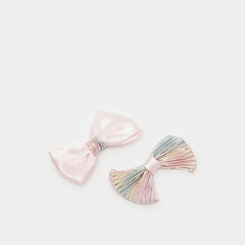 Pack of 2 - Assorted Hair Clips with Bow Applique