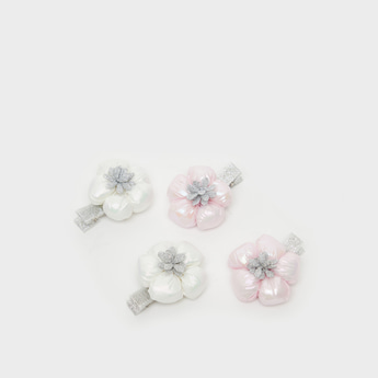 Pack of 4 - Embellished Hair Clips with Floral Applique