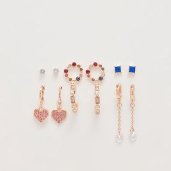 Set of 6 - Embellished Earrings with Pushback Closure