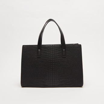 Textured Handbag with Twin Handle and Detachable Strap