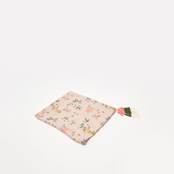 All-Over Floral Print Rectangle Scarf with Tassels