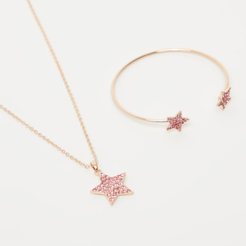 Studded Star Necklace and Adjustable Bracelet Set