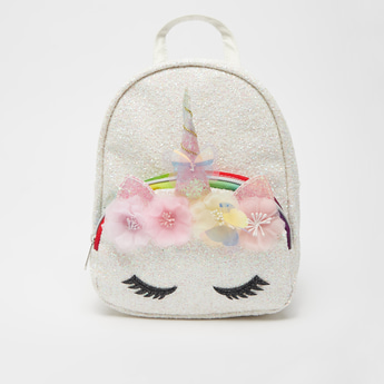 Unicorn Applique Detail Fur Backpack with Shoulder Straps
