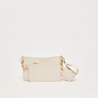 Set of 3 - Textured Crossbody Bag with Detachable Strap