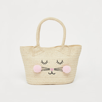 Textured Tote Bag with Pom Pom Accents