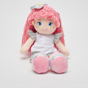 Doll Soft Toy in Glittery Dress and Braided Hair