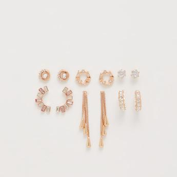 Set of 6 - Embellished Metallic Earrings
