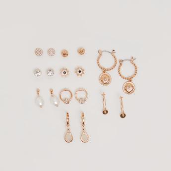 Set of 9 - Embellished Earrings