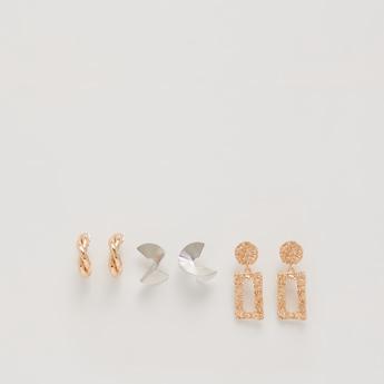 Set of 3 - Metallic Dangling Earrings with Pushback Closure