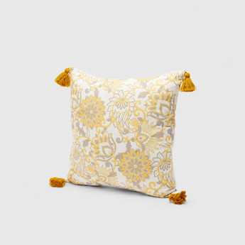 Floral Print Filled Cushion with Tassels - 45x45 cms