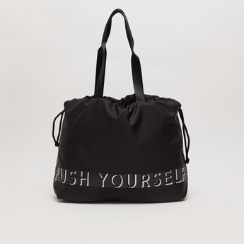 Text Print Duffel Bag with Twin Handle and Drawstring Closure