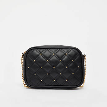 Embellished Crossbody Bag with Chain Strap and Zip Closure