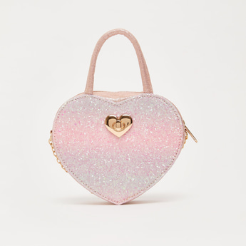 Glitter Accent Crossbody Bag with Twin Handle and Metallic Chain