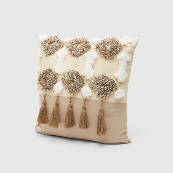 Textured Filled Cushion with Tassel Detail - 45x45 cms