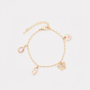 Charm Bracelet with Lobster Clasp Closure and Extra Loops
