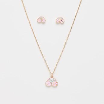 Rainbow Pendant Necklace and Stud Earrings Set