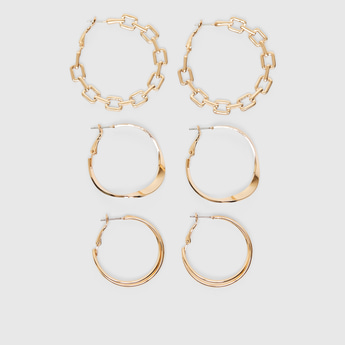 Set of 3 - Assorted Earrings with Hinged Hoops
