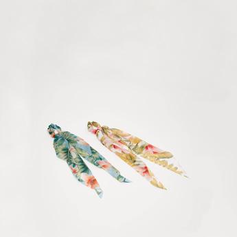شريطة شعر مطاطية مستديرة بطبعات أزهار - طقم من قطعتين