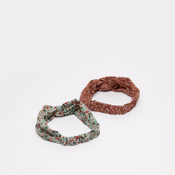 Set of 2 - Floral Print Hairband with Twisted Knot Accent
