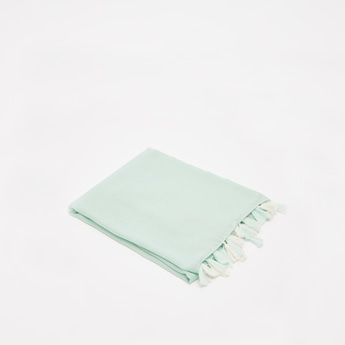 Embroidered Detail Rectangle Scarf with Tassels