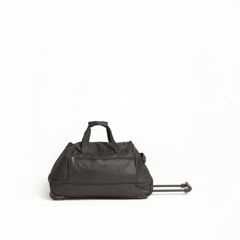 Solid Duffle Trolley Bag with Retractable Handle - 61x32x30 cms