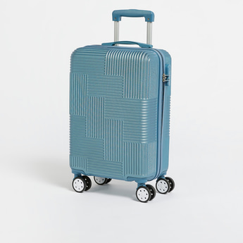 Textured Hardcase Trolley Bag with Wheels and Retractable Handle - 37.5x23x56 cms
