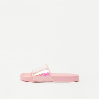 Solid Slides with Printed Strap and Textured Sole