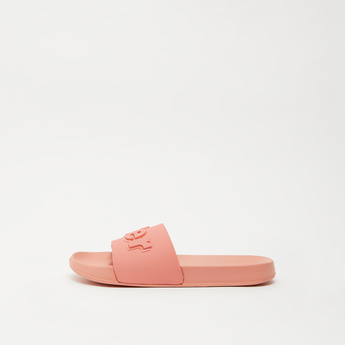 Embossed Print Slides with Textured Sole