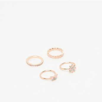 Pack of 4 - Studded Finger Rings
