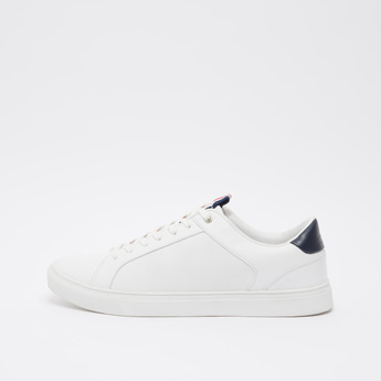 Stitch Detail Sports Shoes with Lace-Up Closure and Pull Tab