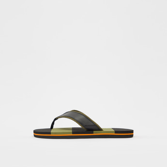 Striped Flip Flops with Textured Footbed