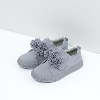 Flower Detail Slip-On Shoes with Pull Tab