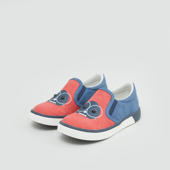Printed Slip-On Shoes with Elasticated Gussets