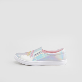 Applique Detail Slip-On Shoes with Elasticised Gussets