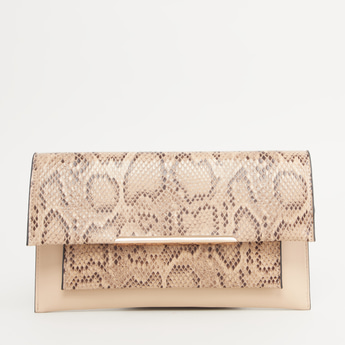 Textured Clutch with Detachable Metallic Chain