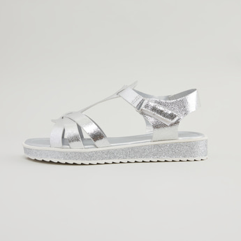 Textured Cross Strap Sandals with Hook and Loop Closure