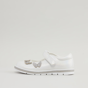 Applique Detail Mary Jane Shoes with Hook and Loop Closure