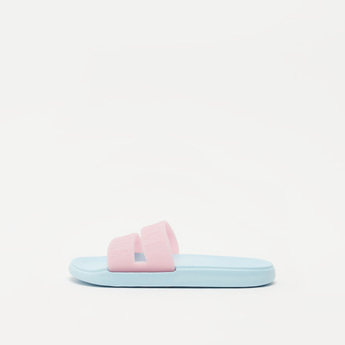 Textured Slides with Embossed Text Print Vamp Band