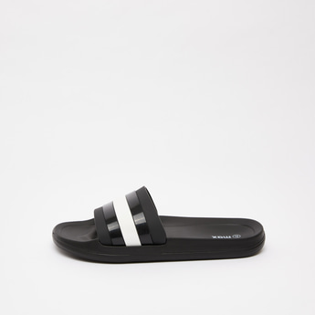 Solid Slides with Stripe Detail Vamp Band